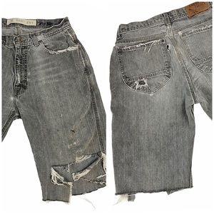 "Vintage American Legacy Thrashed Jean Shorts 30"""